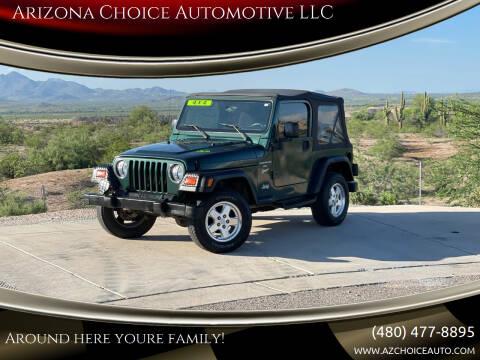 1999 Jeep Wrangler for sale at Arizona Choice Automotive LLC in Mesa AZ