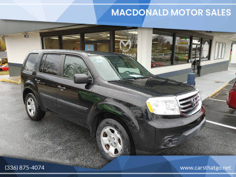 2013 Honda Pilot for sale at MacDonald Motor Sales in High Point NC