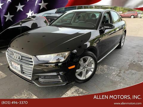2018 Audi A4 for sale at Allen Motors, Inc. in Thousand Oaks CA