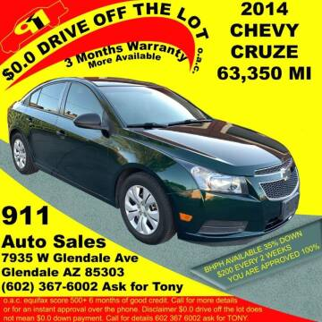 2014 Chevrolet Cruze for sale at 911 AUTO SALES LLC in Glendale AZ