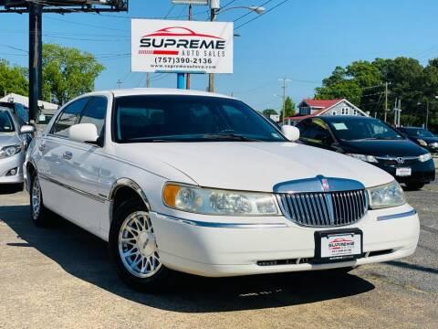 1999 Lincoln Town Car for sale at Supreme Auto Sales in Chesapeake VA
