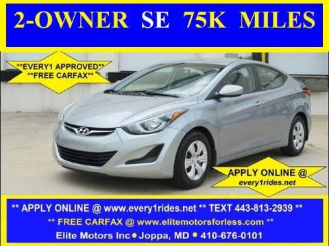 2016 Hyundai Elantra for sale at Elite Motors INC in Joppa MD