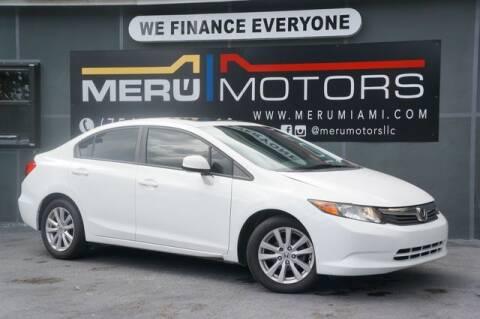 2012 Honda Civic for sale at Meru Motors in Hollywood FL