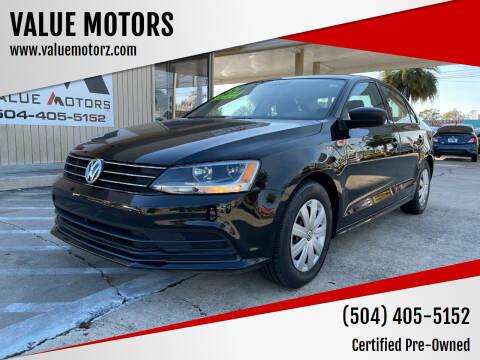 2015 Volkswagen Jetta for sale at VALUE MOTORS in Kenner LA
