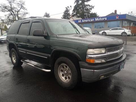 2001 Chevrolet Tahoe for sale at All American Motors in Tacoma WA