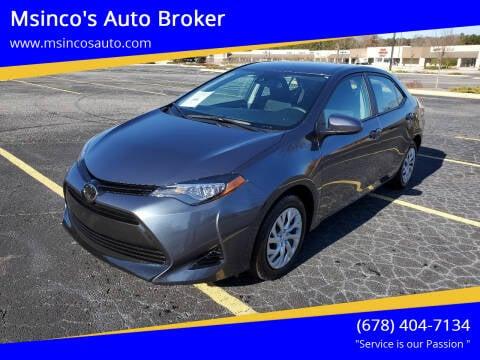 2018 Toyota Corolla for sale at Msinco's Auto Broker in Snellville GA
