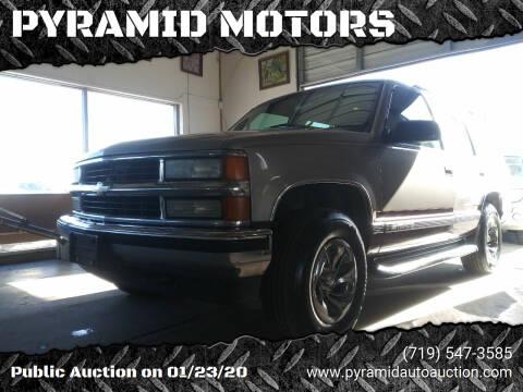1999 Chevrolet Tahoe for sale at PYRAMID MOTORS - Pueblo Lot in Pueblo CO