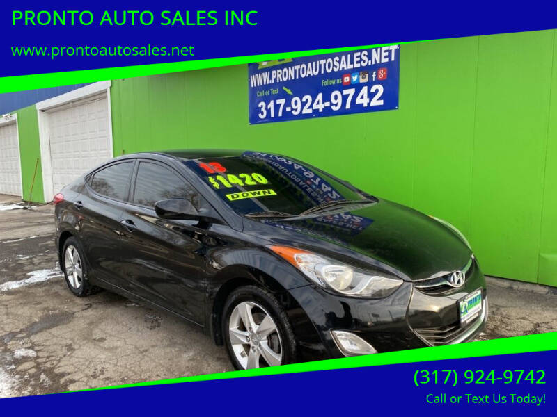 2013 Hyundai Elantra for sale at PRONTO AUTO SALES INC in Indianapolis IN
