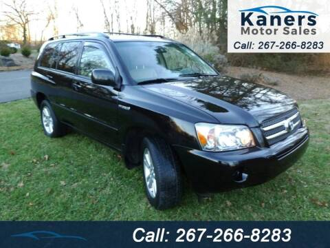 2007 Toyota Highlander Hybrid for sale at Kaners Motor Sales in Huntingdon Valley PA