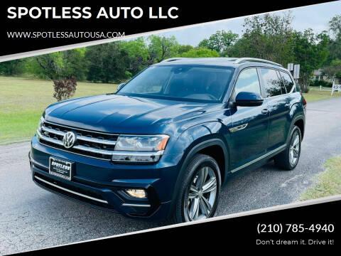 2019 Volkswagen Atlas for sale at SPOTLESS AUTO LLC in San Antonio TX