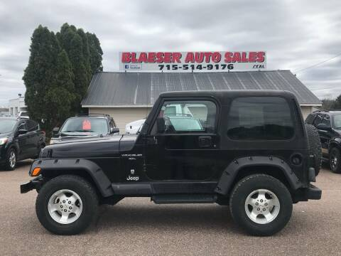 2001 Jeep Wrangler for sale at BLAESER AUTO LLC in Chippewa Falls WI