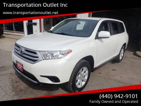2012 Toyota Highlander for sale at Transportation Outlet Inc in Eastlake OH
