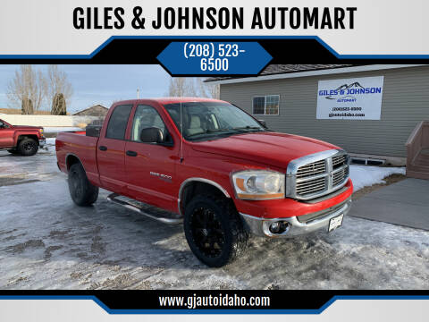 2006 Dodge Ram Pickup 1500 for sale at GILES & JOHNSON AUTOMART in Idaho Falls ID