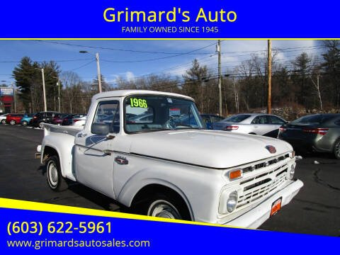 1966 Ford F-100 for sale at Grimard's Auto in Hooksett, NH