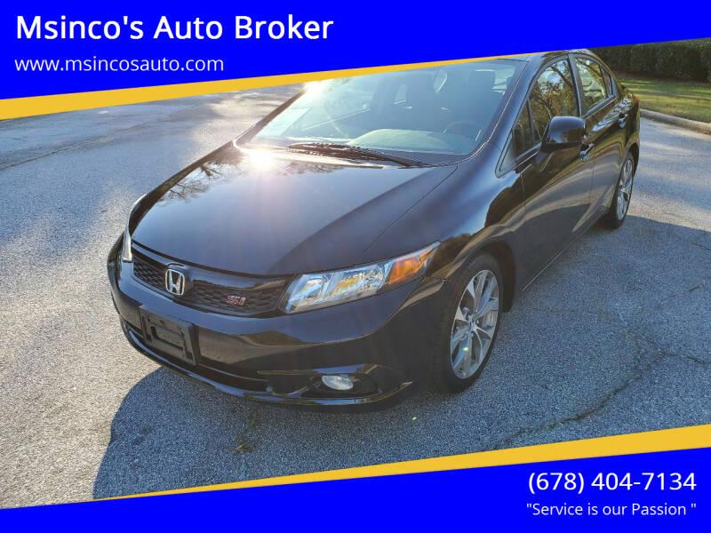 2012 Honda Civic for sale at Msinco's Auto Broker in Snellville GA