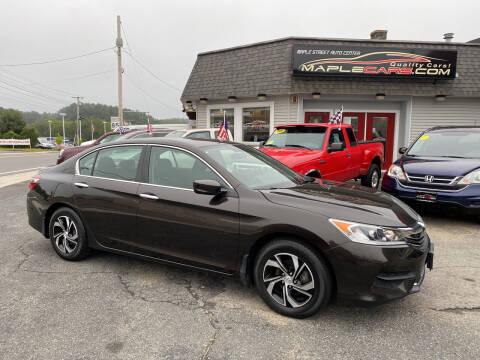 2017 Honda Accord for sale at Maple Street Auto Center in Marlborough MA
