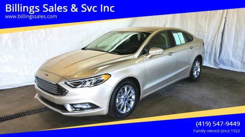 2017 Ford Fusion for sale at Billings Sales & Svc Inc in Clyde OH