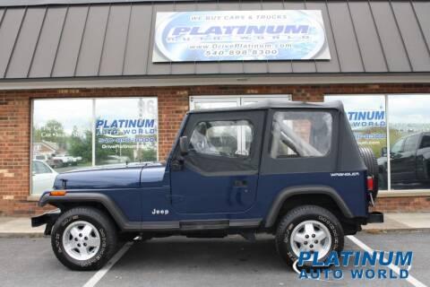 1991 Jeep Wrangler for sale at Platinum Auto World in Fredericksburg VA