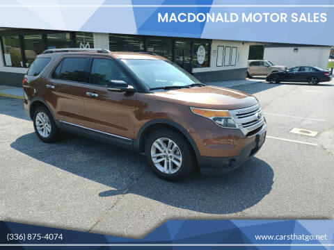 2011 Ford Explorer for sale at MacDonald Motor Sales in High Point NC