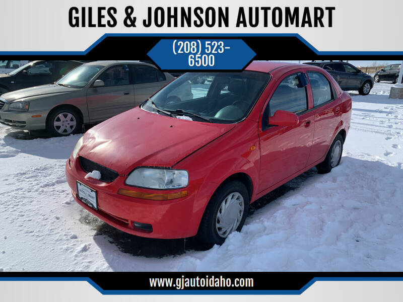 2004 Chevrolet Aveo for sale at GILES & JOHNSON AUTOMART in Idaho Falls ID