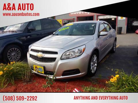 2013 Chevrolet Malibu for sale at A&A AUTO in Fairhaven MA
