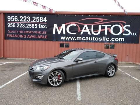 2013 Hyundai Genesis Coupe for sale at MC Autos LLC in Pharr TX