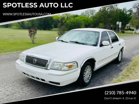 2008 Mercury Grand Marquis for sale at SPOTLESS AUTO LLC in San Antonio TX