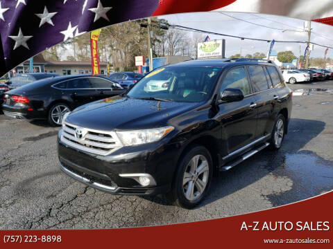 2012 Toyota Highlander for sale at A-Z Auto Sales in Newport News VA