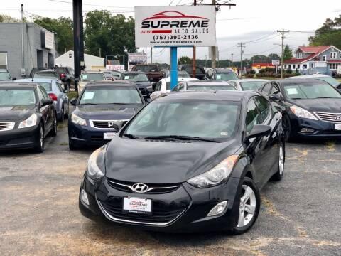 2013 Hyundai Elantra for sale at Supreme Auto Sales in Chesapeake VA