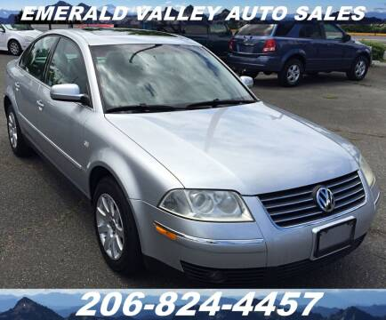 2002 Volkswagen Passat for sale at Emerald Valley Auto Sales in Des Moines WA