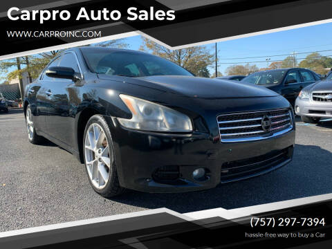 2009 Nissan Maxima for sale at Carpro Auto Sales in Chesapeake VA