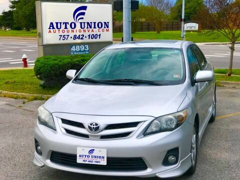 2012 Toyota Corolla for sale at Auto Union LLC in Virginia Beach VA