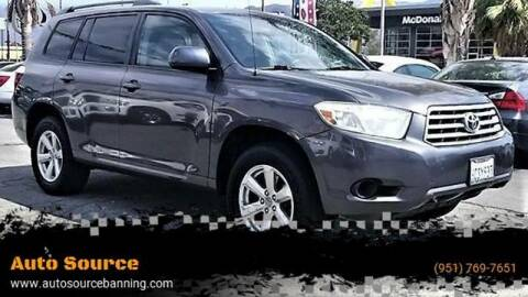 2008 Toyota Highlander for sale at Auto Source II in Banning CA
