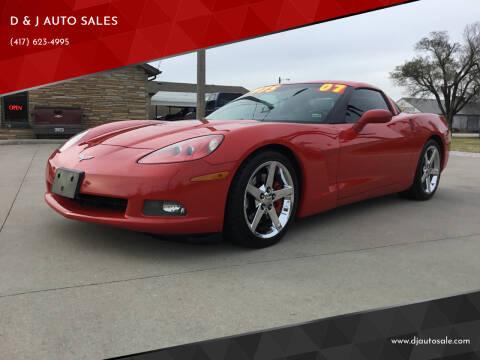 2007 Chevrolet Corvette for sale at D & J AUTO SALES in Joplin MO