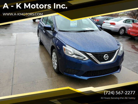 2017 Nissan Sentra for sale at A - K Motors Inc. in Vandergrift PA