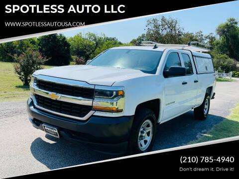 2018 Chevrolet Silverado 1500 for sale at SPOTLESS AUTO LLC in San Antonio TX