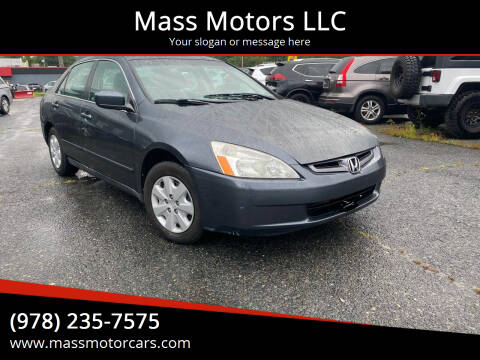2004 Honda Accord for sale at Mass Motors LLC in Worcester MA