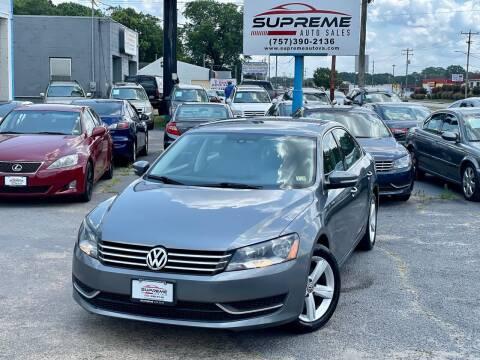 2013 Volkswagen Passat for sale at Supreme Auto Sales in Chesapeake VA