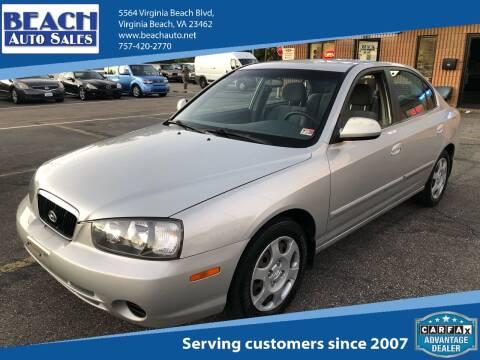 2002 Hyundai Elantra for sale at Beach Auto Sales in Virginia Beach VA