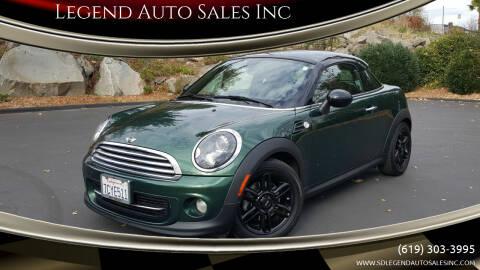 2013 MINI Coupe for sale at Legend Auto Sales Inc in Lemon Grove CA