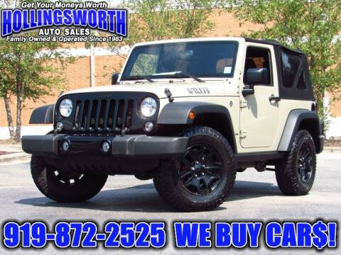 2017 Jeep Wrangler for sale at Hollingsworth Auto Sales in Raleigh NC