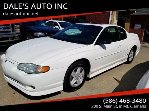 2002 Chevrolet Monte Carlo for sale at DALE'S AUTO INC in Mt Clemens MI