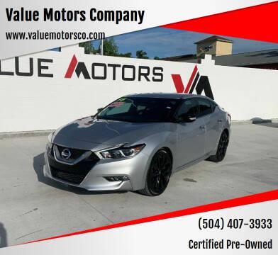 2016 Nissan Maxima for sale at Value Motors Company in Marrero LA