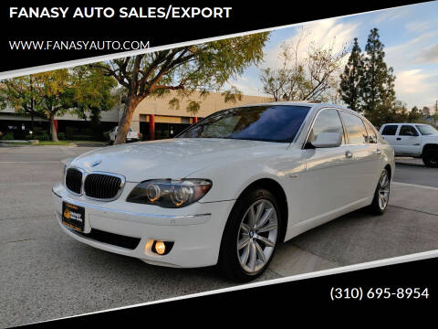 2008 BMW 7 Series for sale at FANASY AUTO SALES/EXPORT in Yorba Linda CA