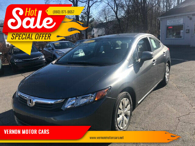 2012 Honda Civic for sale at VERNON MOTOR CARS in Vernon Rockville CT