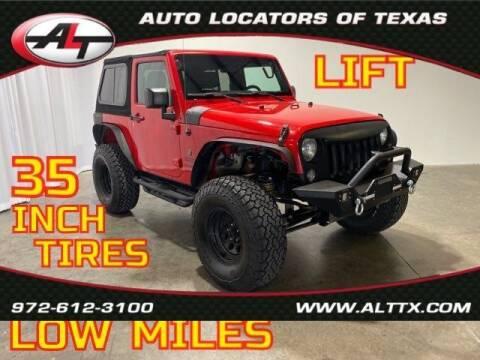 2016 Jeep Wrangler for sale at AUTO LOCATORS OF TEXAS in Plano TX