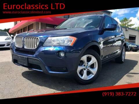 2011 BMW X3 for sale at Euroclassics LTD in Durham NC