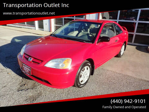 2001 Honda Civic for sale at Transportation Outlet Inc in Eastlake OH