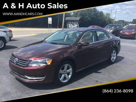 2012 Volkswagen Passat for sale at A & H Auto Sales in Greenville SC