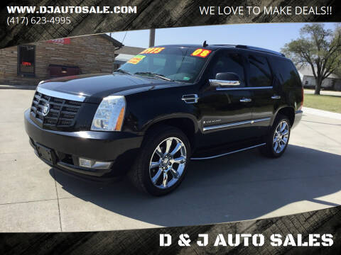 2008 Cadillac Escalade for sale at D & J AUTO SALES in Joplin MO